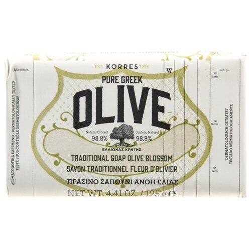 Мыло кусковое KORRES Pure Greek Olive Цветы оливы, 125 г korres korres pure greek olive showergel honey гель для душа с медом 250 мл