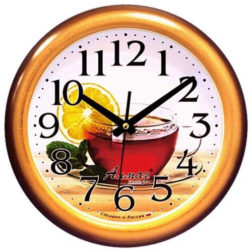 Часы настенные кварцевые Алмаз H73 коричневый/бежевый часы настенные кварцевые алмаз c25 розовый бежевый