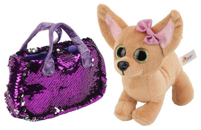 Играем вместе Мягкая игрушка Собака чихуахуа 19 см. в сумочке из пайеток
