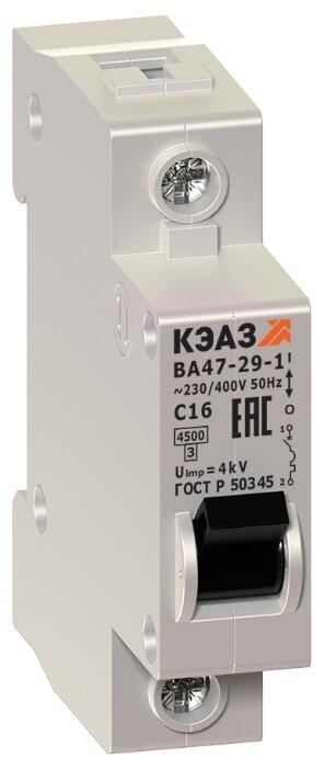 Автоматический выключатель КЭАЗ ВА47-29 1P (C) 4,5kA