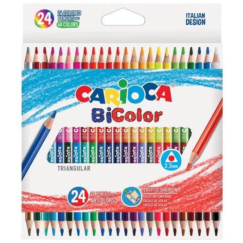 Купить Carioca набор цветных двусторонних карандашей BiColor 24 штуки, 48 цветов + точилка (43031), Цветные карандаши