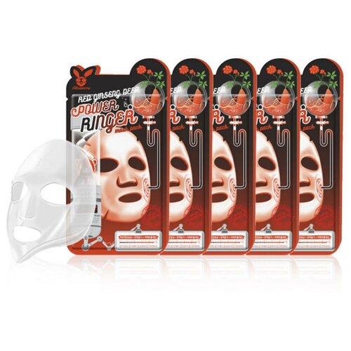 Elizavecca регенерирующая тканевая маска с экстрактом красного женьшеня Red Ginseng Deep Power Ringer Mask Pack, 23 мл, 5 шт.