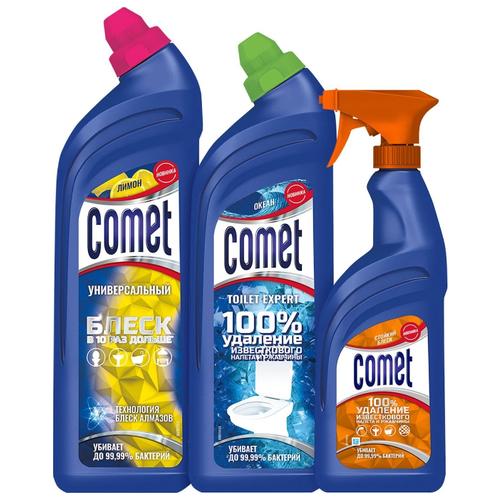 Comet Универсальный чистящий гель лимон 850 мл, Toilet Expert гель для туалета океан 700 мл, спрей для ванной стойкий блеск 450 мл, 3 шт. недорого