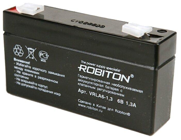 Свинцово-кислотный (гелиевый) аккумулятор Robiton VRLA6-1.3