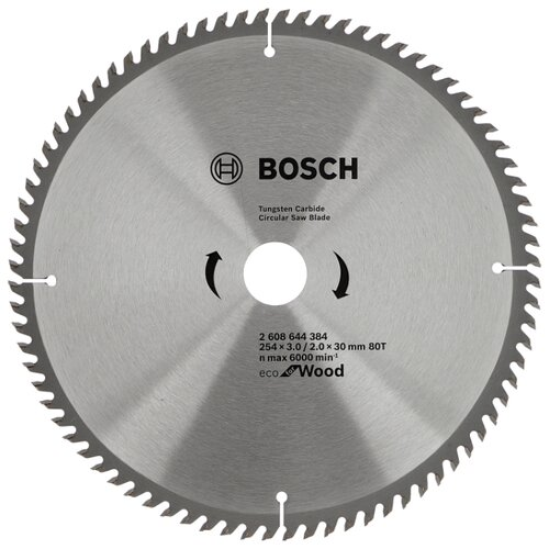 Пильный диск BOSCH Eco Wood 2608644384 254х30 мм диск пильный bosch eco wood 230 ммx30 мм 48зуб 2608644382