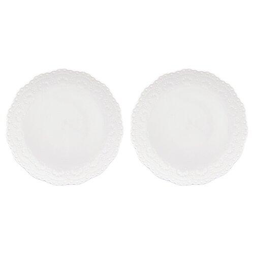 Elan gallery Набор десертных тарелок Белый узор 16 см, 2 шт (540158) белый elan gallery набор тарелок для закуски белый узор 20 5 см 2 шт 540157 белый