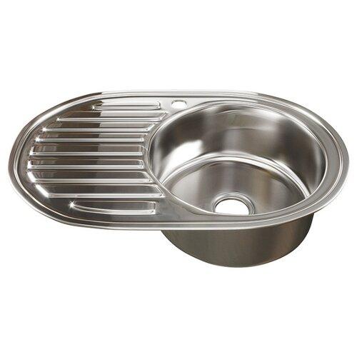 Врезная кухонная мойка 77 см Mixline 50х77 (0,8) 3 1/2 правая нержавеющая сталь/глянец врезная кухонная мойка 51 см mixline d51 0 6 3 1 2 нержавеющая сталь глянец