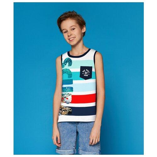 Майка INFUNT размер 146, белый/синий/красный футболка infunt размер 146 красный синий белый