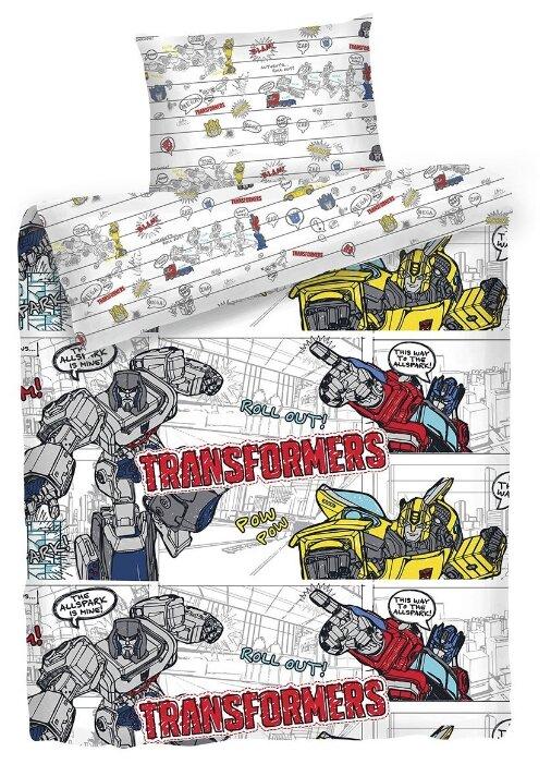 Постельное белье 1.5-спальное Mona Liza Kids Transformers Bumblebee, бязь белый/желтый