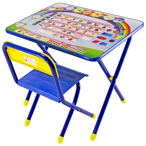 Комплект ДЭМИ стол + стул №1 Алфавит 60x45 см синий
