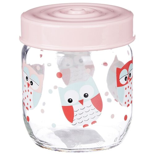 Herevin Банка для сыпучих продуктов Совы 171341-051 425 мл бесцветный/розовый