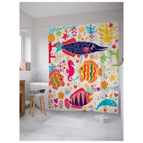 Штора для ванной JoyArty Яркие океанские жители 180х200 (sc-17279) разноцветный