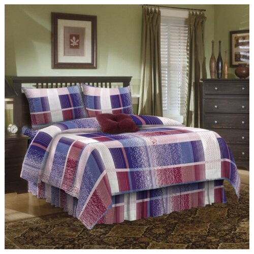 Постельное белье 2-спальное макси Диана-Текс Клетка 4246 70х70 см, бязь фиолетовый/белый