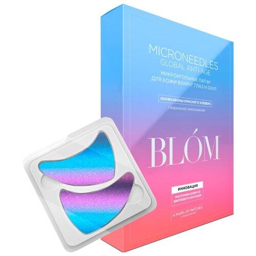 blom микроигольные патчи для глаз увлажнение и разглаживание 4 шт Blom Патчи микроигольные с изофлавонами красного клевера для кожи вокруг глаз и скул, 8 шт.