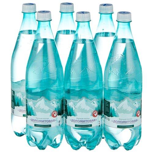 Вода минеральная Горные сосны Доломитовая газированная, ПЭТ, 6 шт. по 1 л