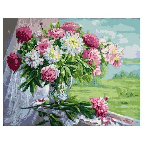 Купить ВанГогВоМне Картина по номерам Пионы и хризантемы , 40х50 см (ZX 22128), Картины по номерам и контурам