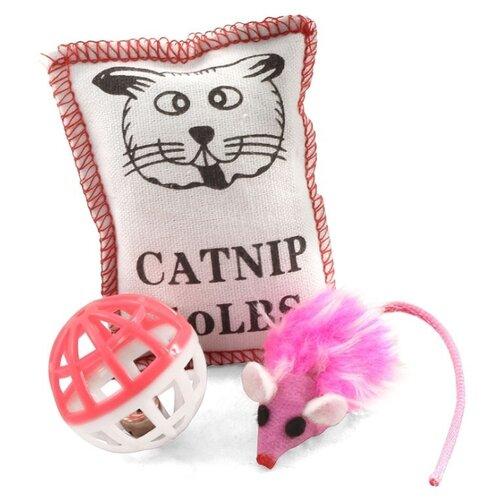 Набор игрушек для кошек Triol набор мяч, мышь, подушка (XW7001/22181045) белый/розовый