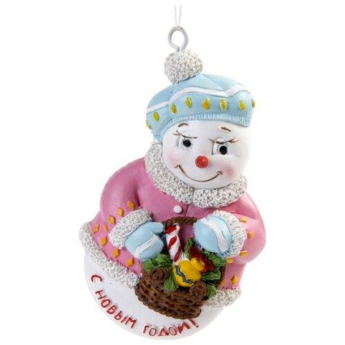 Елочная игрушка Magic Time Снеговик с корзинкой (77786) белый/розовый/голубой