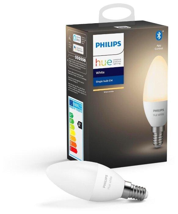 Лампа светодиодная Philips Hue White, E14, 5.5Вт фото 1