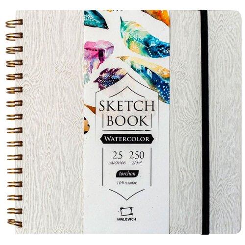 Купить Скетчбук для акварели Малевичъ Wood 21 х 21 см, 250 г/м², 25 л. серый, Альбомы для рисования