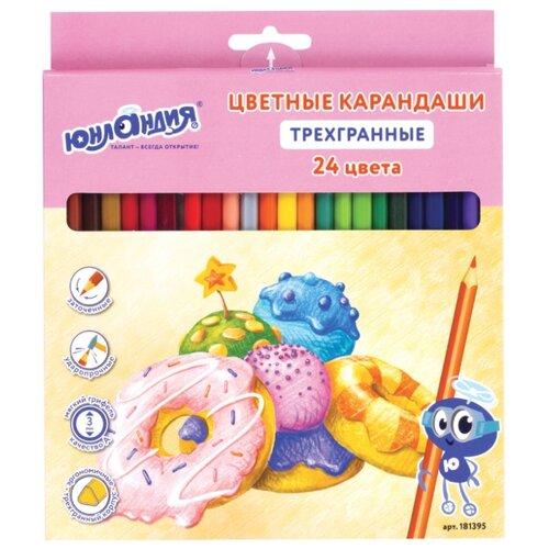 Купить Юнландия Карандаши цветные Сладкие истории 24 цвета (181395), Цветные карандаши