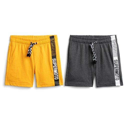Шорты playToday размер 116, темно-серый/желтый шорты playtoday размер 116