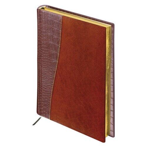 Ежедневник BRAUBERG Cayman 123399 недатированный, искусственная кожа, А5, 160 листов, коричневый/темно-коричневый ежедневник brauberg imperial а5 160 листов недатированный коричневый