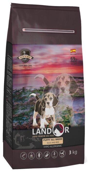 Корм для собак Landor (3 кг) Puppy с уткой и рисом для щенков любой породы