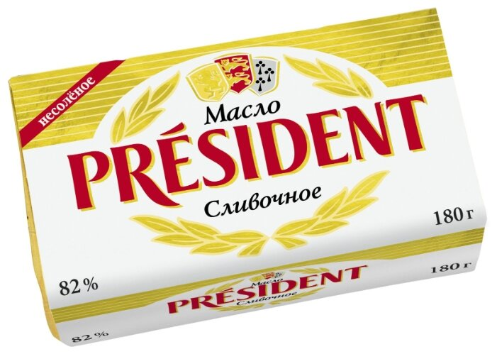President Масло сливочное несоленое 82%, 180 г