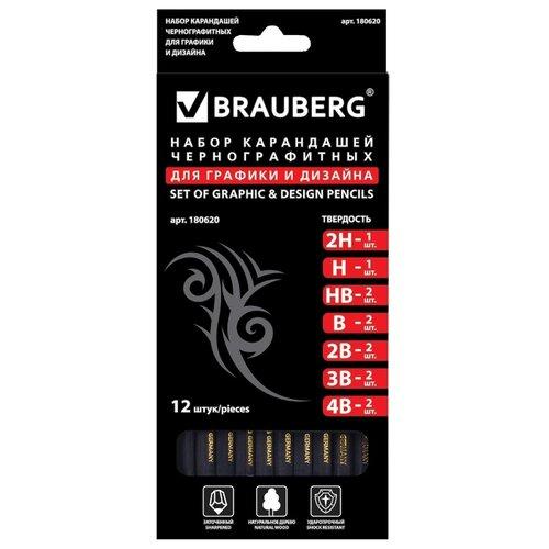BRAUBERG Набор чернографитных карандашей Black Jack 12 штук (180620), Карандаши  - купить со скидкой