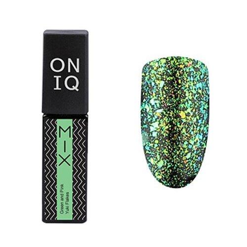 Гель-лак для ногтей ONIQ MIX, 6 мл, оттенок 104S Green and Pink Yuki Flakes гель лак для ногтей oniq mix 6 мл оттенок 104s green and pink yuki flakes