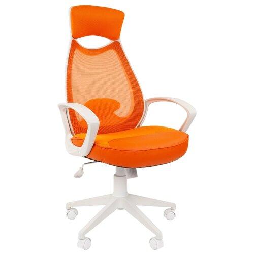 Компьютерное кресло Chairman 840 для руководителя, обивка: текстиль, цвет: белый/оранжевый компьютерное кресло chairman 434n для руководителя обивка текстиль цвет вельвет черный