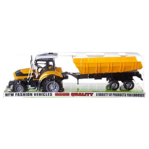 Купить Трактор с прицепом (666-121B) желтый, Shenzhen Jingyitian Trade, Машинки и техника