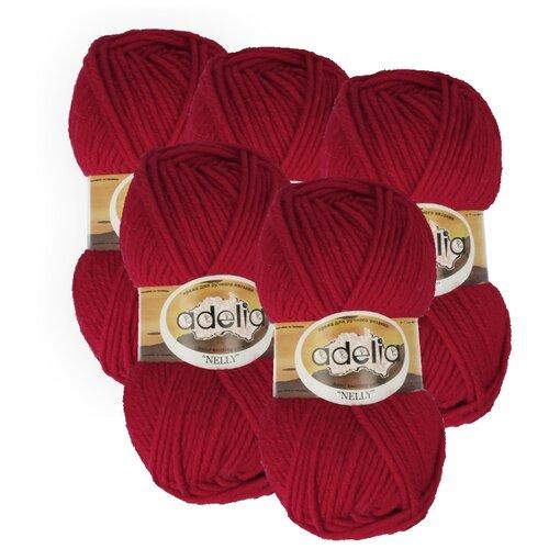 Купить Пряжа Adelia Nelly однотонная, 70 % шерсть, 30 % акрил, 100 г, 100 м, 5 шт., №17 т.красный