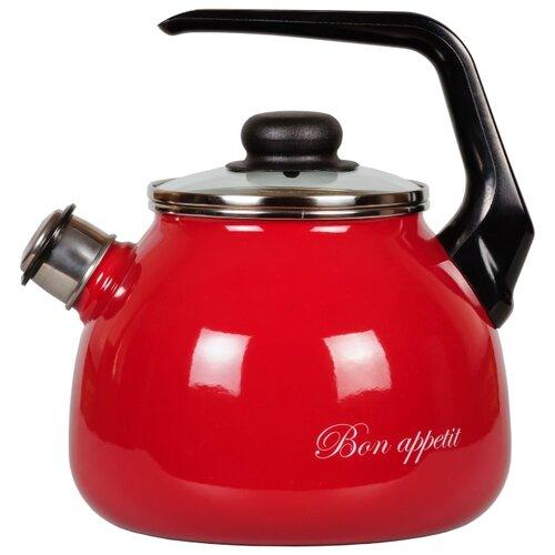 Фото - Vitross Чайник со свистком Bon appetit 1RС12 3 л, вишневый чайник со свистком bon appetit 2л мокрый асфальт