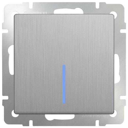 Выключатель 1-полюсный Werkel WL09-SW-1G-2W-LED,10А, серебристый werkel выключатель одноклавишный проходной с подсветкой серебряный wl06 sw 1g 2w led 4690389053863