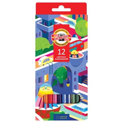 KOH-I-NOOR Карандаши цветные Город мечты, 12 цветов (3552012038KS), Цветные карандаши  - купить со скидкой