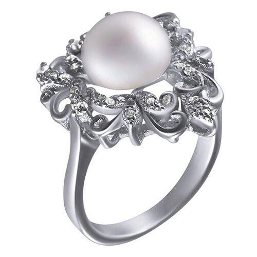 ELEMENT47 Кольцо из серебра 925 пробы с культивированным жемчугом и кубическим цирконием R1009312_KO_WP_001_WG, размер 18.5
