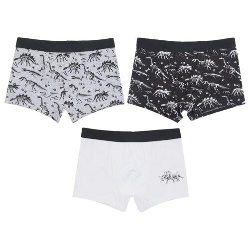 Купить Трусы Leader Kids 3 шт., размер 146-152, черный/белый/серый, Белье и пляжная мода
