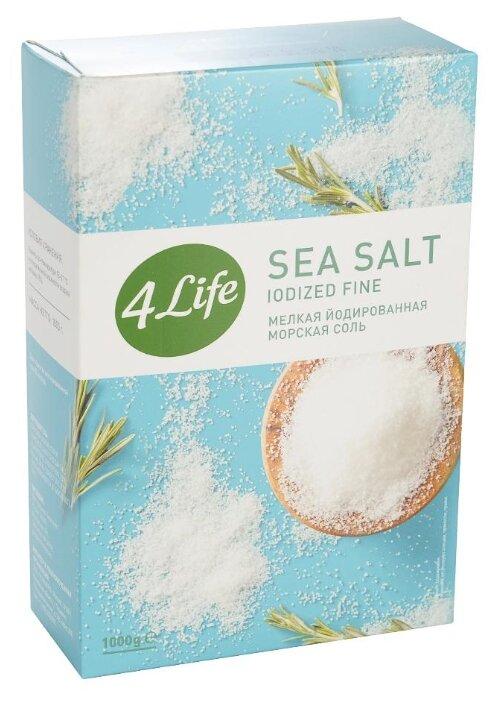 4Life Соль морская белая йодированная мелкий помол, 1000 г
