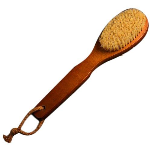 Щетка Доляна с ручкой и массажером, натуральная щетина 4694160 коричневый