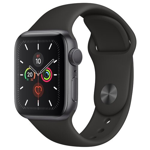 Часы Apple Watch Series 5 GPS 40mm Aluminum Case with Sport Band серый космос/черный часы apple watch series 5 gps 40mm aluminum case with nike sport band серебристый чистая платина черный