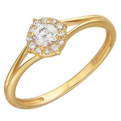 Эстет Кольцо с 13 фианитами из жёлтого золота 01К139309Ф, размер 18.5