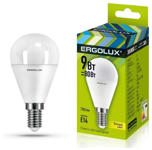 Лампа светодиодная Ergolux 13173, E14, G45, 9Вт — цены в магазинах рядом с домом на Яндекс.Маркете