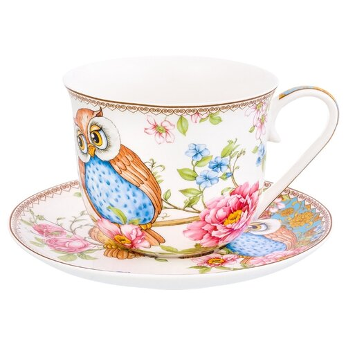 цена на Elan gallery Чайная пара Совушки 500 мл белый