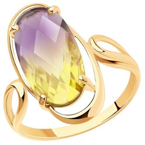 SOKOLOV Кольцо из золота с ситалом синтетическим 716021, размер 19