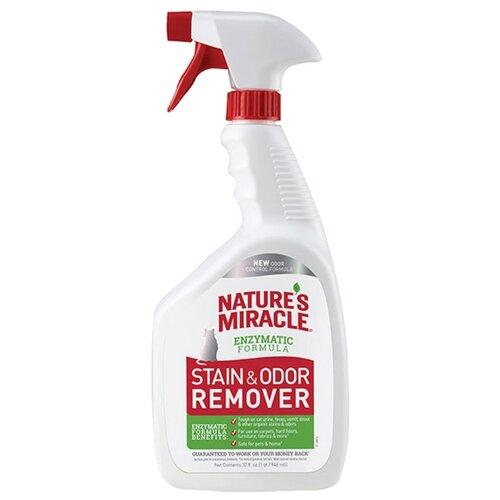 Спрей 8 In 1 Nature`s Miracle уничтожитель пятен и запахов от кошек Stain & Odor Remover, 946 мл 8in1 cat stain and odor exterminator nm jfc s