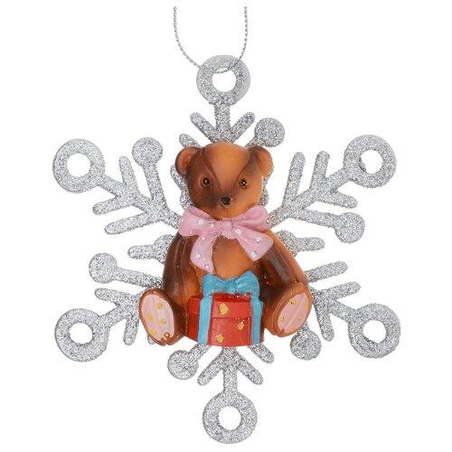 Елочная игрушка Magic Time Мишка в снежинке (75626) серебристый/коричневый/красный фигурки magic time обезьяна клоун в ящике
