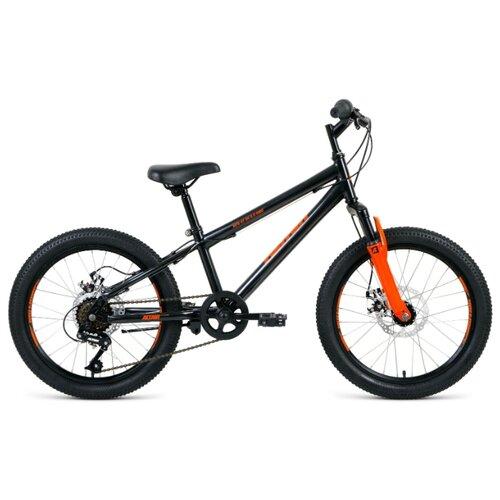 """Подростковый горный (MTB) велосипед ALTAIR MTB HT 20 2.0 Disc (2020) черный/оранжевый 10.5"""" (требует финальной сборки)"""
