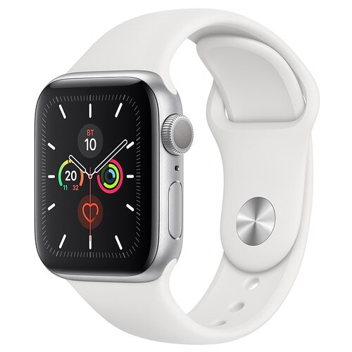 Часы Apple Watch Series 5 GPS 40mm Aluminum Case with Sport Band серебристый/белый часы apple watch series 5 gps 40mm aluminum case with nike sport band серебристый чистая платина черный
